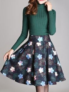Floral Printed pockets Midi Skirts #ClothingOnline #PlusSizeWomensClothing #CheapClothing #FashionClothing #womenswear #sexydress #womensdress #womenfashioncasual #womensfashionforwork  #fashion #womensfashionwinter