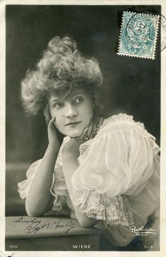 Original French vintage hand tinted real photo postcard - Actress miss Wiehe with lace trimmed blouse
