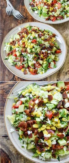 BLT Chopped Salad with Corn, Feta + Avocado - BLT Chopped Salad <br> This BLT chopped salad is the best summer salad! Filled with sweet summer corn, feta and chopped avocado, it's an incredible lunch. New Recipes, Cooking Recipes, Healthy Recipes, Recipes Dinner, Recipes With Corn, Recipes With Avocado, Clean Recipes, Recipies, Recipes With Feta Cheese