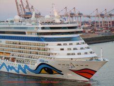 Cruiseship MV AIDAluna (2,030 berths, built at Meyer Werft in 2009) at Hamburg Cruise Terminal in May 2014