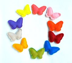 Butterfly felt ornament, set of 10, varicoloured, spring, Easter ornament, Wedding favour, Christmas ornament, Birthday, nursery decoration