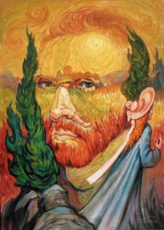 Van Gogh-ing, Going, Gone ~ Optical Illusion Oil Painting by Oleg Shuplyak) Optical Illusion Paintings, Amazing Optical Illusions, Optical Illusions Pictures, Illusion Drawings, Illusion Kunst, Double Image, Double Picture, Hidden Images, Vincent Van Gogh