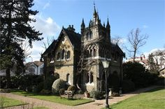 13 Dramatic Gothic Victorian Homes Part 2 * Unique Intuitions Victorian Style Homes, Victorian Gothic, Holly Village, Dream Properties, Tower House, Old Mansions, Second Empire, Witch House, Gothic House