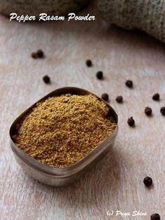 Pepper Rasam podi - Spice mix to make comforting pepper flavoured Rasam - Indian clear ! Podi Recipe, Rasam Recipe, Masala Spice, Garam Masala, Chaat Masala, Masala Powder Recipe, Comida India, Homemade Spices, Spice Mixes