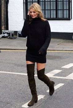 kate moss sweater dress over the knee street style