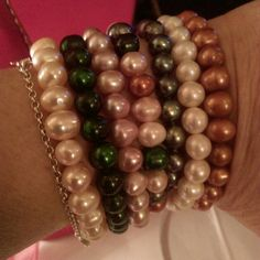 Freshwater Pearls This is a set of Seven Gorgeous Freshwater Pearls. One bracelet is a Multicolor & the other 6 match each color that is in the multicolored bracelet. Wear all together or just pick out whichever one or two that goes with a particular outfit. Pearls go with everything!  New without tags. Jewelry Bracelets