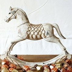 Distressed Ivory and Gold Rocking Horse