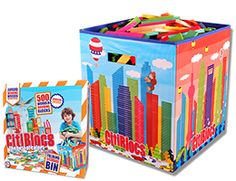 http://www.citiblocs.com/what_are_citiblocs__/ Citiblocs only needs gravity, balance and imagination. Each block is cut to the exact proportions of a 1:3:5:15 ratio. The blocks are all the same size – measuring in inches approximately 1/4 inches thick x 1 inch wide x 4 1/2 inches long.