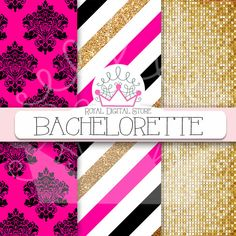 """Pink digital paper: """" BACHELORETTE"""" with pink and gold background, pink scrapbook paper, gold and pink glitter for scrapbooking, cards #partysupplies #glitter #gold #pink #damask #digitalpaper #scrapbookpaper #wedding #planner"""