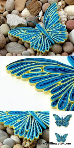 Butterfly Blue Yellow Colorful Bright Gift Christmas Wedding Mothers Valentines Day Home Decoration Idea Paper Quilling Quilled Handmade Art