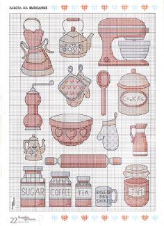 Kitchen motifs part 1 free cross stitch patterns Cross Stitch Kitchen, Mini Cross Stitch, Cross Stitch Cards, Cross Stitching, Cross Stitch Embroidery, Embroidery Patterns, Cross Stitch Designs, Cross Stitch Patterns, Plastic Canvas Patterns