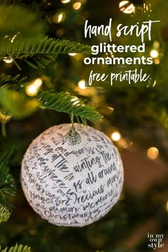 How to transform a ball Christmas ornament using glitter and paper strips of hand writing script paper with the lyrics from the classic Christmas movie Home Alone. Free printable to use to make your own ornaments. Front Door Christmas Decorations, Christmas Tree Garland, Paper Decorations, Christmas Balls, All Things Christmas, Christmas Tree Ornaments, Christmas Crafts, Christmas Time, Christmas Ideas