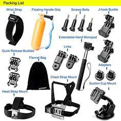 cool Zookki Accessories Kit for GoPro Hero 5 4 3+ 3 2 1 SJ4000 SJ5000 Camera, Black - Silver