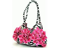 Super Cute Zebra Purse with Hot Pink Flowers!  This Purse is the PERFECT size, not to big...not to small!
