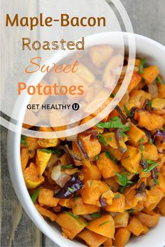 Sweet and smoky, these maple-bacon roasted sweet potatoes are a ...