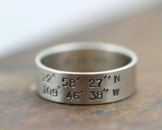 latitude and longitude wedding band