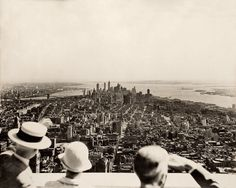 View from the observation deck of the Empire State Building on opening day 1931.