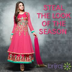 #Celebrate the #traditional #colors and bring out the #ethnic side of you with our #beautiful #crafted half and half #suits #collection. https://brijraj.com/suits #Brijraj #IndianWear #EthnicWear
