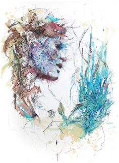 Painted using layers of coffee, ink, tea, and liquor (Carne Griffiths) - Imgur