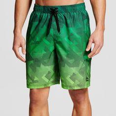 Men's Geo Print Ombre Microfiber 9 Swim Trunks Green L - Rbx