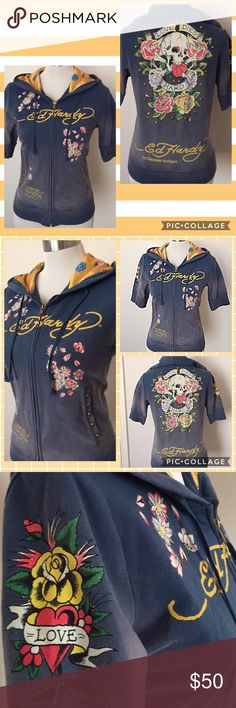 "Rare: Ed Hardy ""Love Dies Hard"" hoodie, sz M Gorgeous, blue-washed Ed Hardy hoodie for anyone who loves this designer. Beautiful details include antique bronze studs on the front pockets and back design and a colorful satin lined hood featuring a ros design. Excellent, like new condition. Ed Hardy Tops Sweatshirts & Hoodies"