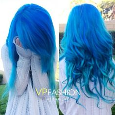 c6b659623de08 Hot Blue Hair Looks and Ideas with White Blonde Extensions hair color diy  with extensions