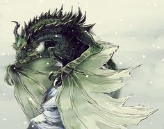 """Paarthurnax"" by ~crowvenchi on deviantART. The Elder Scrolls Skyrim"