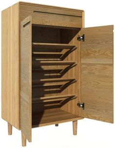shoe cabinet No more shoes under the bed! Declutter your home Nordic style with a Scandic solid oak shoe cabinet.