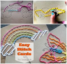 DIY Easy Stitch Cards for Children is part of Sewing crafts For Children - Keep the kids busy and teach them a skill at the same time! These EASY STITCH Cards teach children beginning sewing skills as well as fine motor skills Sewing Projects For Kids, Sewing For Kids, Craft Projects, Craft Ideas, Diy Ideas, Easy Projects, Party Ideas, Fun Crafts, Crafts For Kids