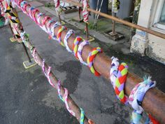 Braids made by children at North Bute and Rothesay Primary decorating the scaffolding on Montague Street, where Rothesay THI regeneration work is underway Yarn Bombing, Scaffolding, Decorating, Street, Children, Creative, Fabric, Projects, How To Make