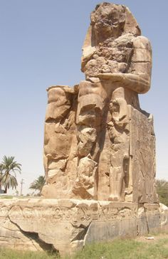 One of the two Colossi of Memnon, on the west bank at Thebes, Egypt. They originally flanked the entrance to the (now almost entirely destroyed) mortuary temple of Amenhotep III. (photo by me) PS. Hello, I'm Rachel, and I'm now a member of The Ancient World! My degrees are in Classics and Egyptology, so my posts will mainly be about those areas (probably mostly Egypt). If you're interested, my personal tumblr is here, but it's not related to the ancient world at all.