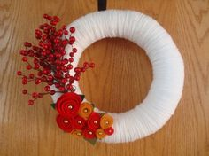 Handmade Yarn Wreath with Felt Roses-12 in Wreath- Ready to Ship