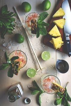 2 oz sotol (or tequila) 1 oz pineapple gomme syrup 1/2 oz lime juice 2 dashes Angostura bitters sprig of mint and pineapple wedge for garnish
