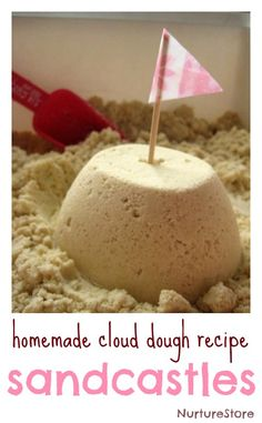 sandcastle messy play :: cloud dough recipe :: beach theme sensory play