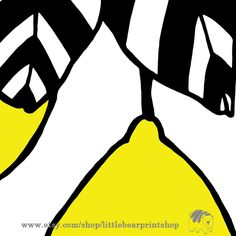 Lemon. Size A2 Digital Download 8.68€. Printable artwork is a beautiful, quick and cost effective way of updating your art. Available on Etsy. ❤️❤️ Black And White Wall Art, Bear Print, Wall Art Prints, Lemon, Printable, Etsy Shop, Digital, Trending Outfits, Artwork