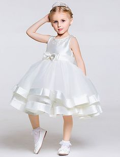 Tea Length Ball Gown Layered Tulle Satin Pageant Dress with Beaded Neck Flower Girls, Cheap Flower Girl Dresses, Wedding Flower Girl Dresses, Little Girl Dresses, Girls Dresses, Ball Gown Dresses, Pageant Dresses, Frocks For Girls, Baby Dress