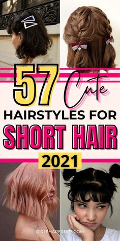 57 Trendy Cute Hairstyles For Short Hair 2021   Easy Hairstyles For Short Hair   Hair Styles