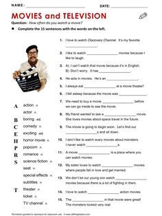 Movies and Television, Movie, TV, vocabulary, ESL, English phrases, http://www.allthingstopics.com/movies-and-television.html