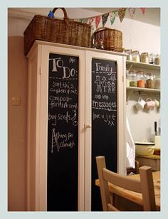 I just love this....we have a cabinite like this that I could easily convert with chalkboard panels..like this idea better than using a wall