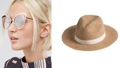 Rose gold Asos sunglasses (L) would look great with a beige panama hat (from Ezibuy).