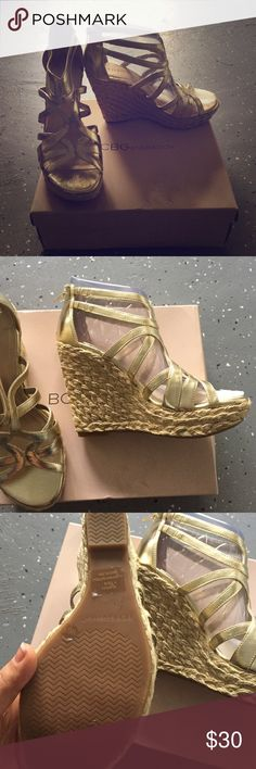 NIB BCBGeneration Makala espadrilles wedges Brand-new espadrilles wedges, and shiny gold front with back zipper. 5 inch heel with 1.5 platform BCBGeneration Shoes Espadrilles