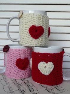 Valentine's Crochet Mug Cosy, Mug Hug, Mug Warmer, Hearts, various colours. £5.00, via Etsy.