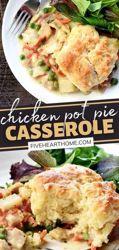 Having a hearty comfort food for dinner has never been easier! Not only is this recipe for Chicken Pot Pie Casserole simple and straightforward, but it can also feed a crowd. Your family will love every soft, fluffy bite of this meal with a creamy, chunky, savory filling! Easy Delicious Recipes, Real Food Recipes, Chicken Recipes, Simple Recipes, Delicious Food, Dessert Recipes, Chicken Pot Pie Casserole, Easy Casserole Recipes, Thanksgiving Dinner Recipes