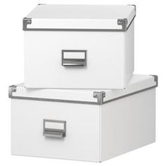 Ikea Kasset Box with Lid ), White 2 Pack Box With Lid, Filing Cabinet, Ikea, Packing, Storage, Furniture, Home Decor, Bag Packaging, Homemade Home Decor