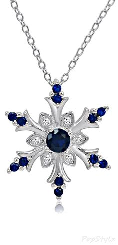 Sterling Silver Sapphire Snowflake Necklace