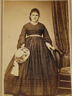 CDV Civil War Era Woman Victorian Dress Bonnet Alliance Ohio | eBay. Plus size. Straw Hat. Contrast Belt.