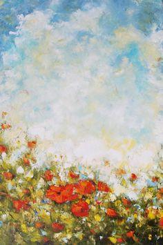 Original Oil Painting Poppy Field Modern por MGOriginalArt en Etsy