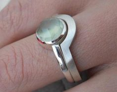 Prehnite Ring With Fitted Band on Luulla Gemstone Jewelry, Jewelry Rings, Jewelery, Silver Jewelry, Jewelry Accessories, Jewelry Design, Silver Rings, Unusual Rings, Metal Clay Jewelry