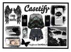 """""""Black Casetify"""" by selenagomez-163 ❤ liked on Polyvore featuring Casetify, Sans Souci and Costarellos"""