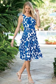 Royal Blue Floral Print Corkscrew Dress: Classic Women's Clothing from #ChadwicksofBoston $59.99